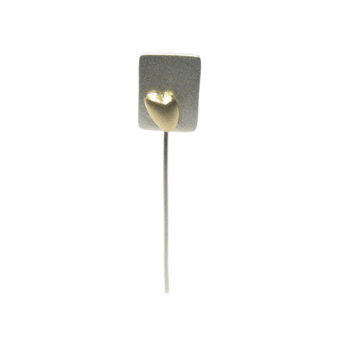 Silver and Yellow Gold Heart Tie Pin