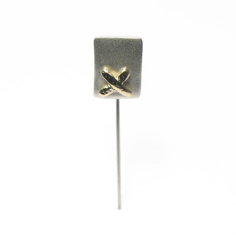Silver and Yellow Gold Kiss Tie Pin