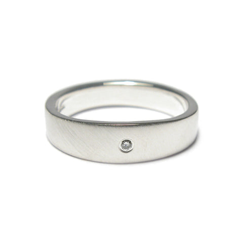 Plain Silver Undulating Ring with Diamond