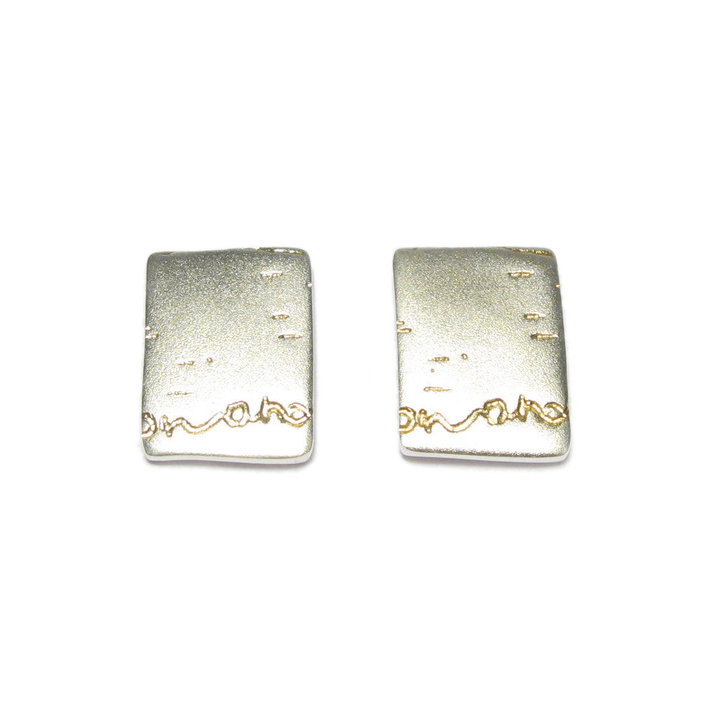 Diana Porter Jewellery contemporary silver and gold etch stud earrings