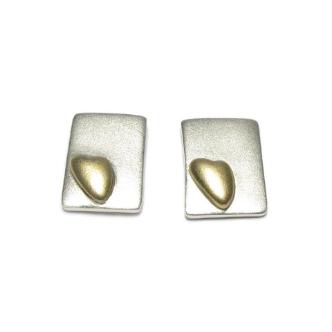 Rectangular Silver and Gold Heart Ear Studs
