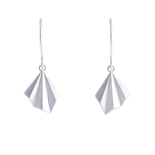 Alice Barnes Pleated Hook Earrings Silver