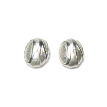 Diana Porter Jewellery contemporary etched silver pebble stud earrings