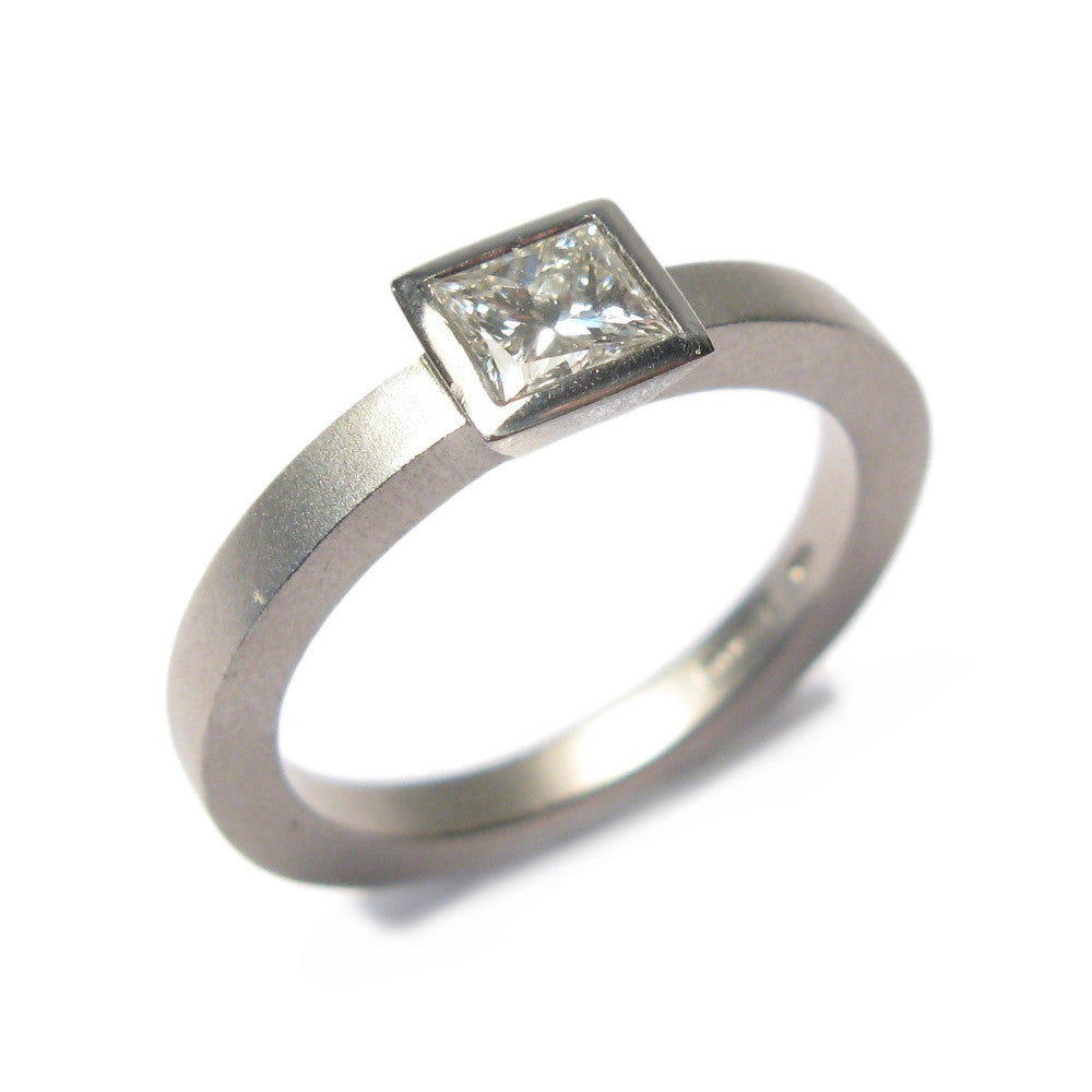 Diana Porter Jewellery contemporary platinum princess cut diamond engagement ring