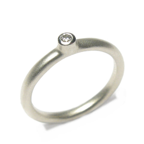 Slim 9ct White Gold Ring with 0.03ct Diamond