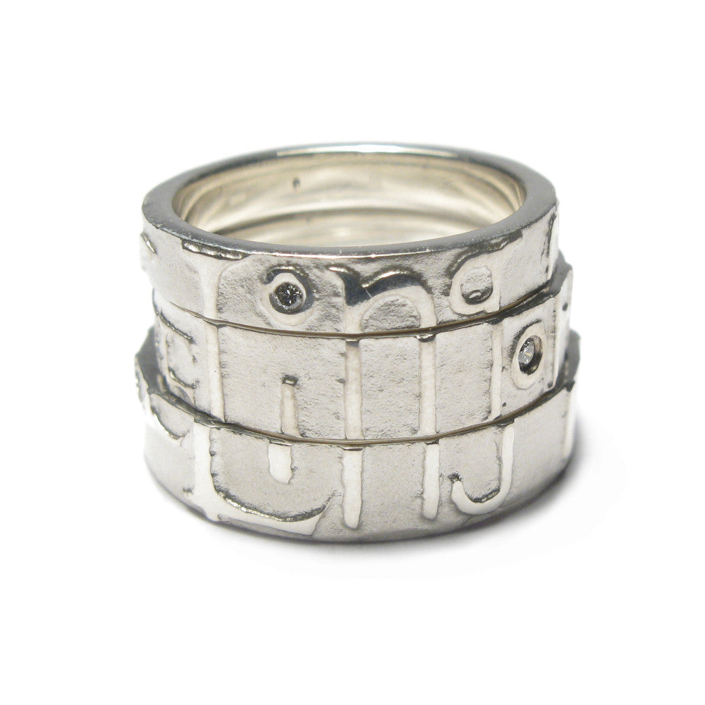 Diana Porter Jewellery contemporary etched silver partnership rings