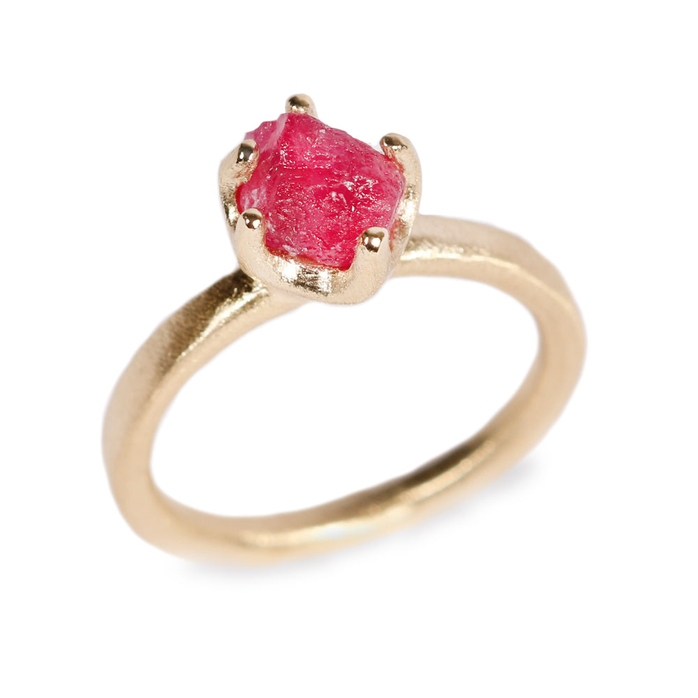Rough Cut Ruby and 18ct Yellow Gold Ring