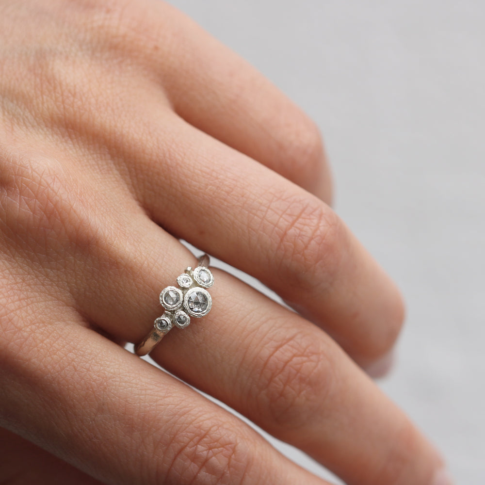 9ct Fairtrade White Gold Ring Set with Salt and Pepper Rose Cut Diamonds