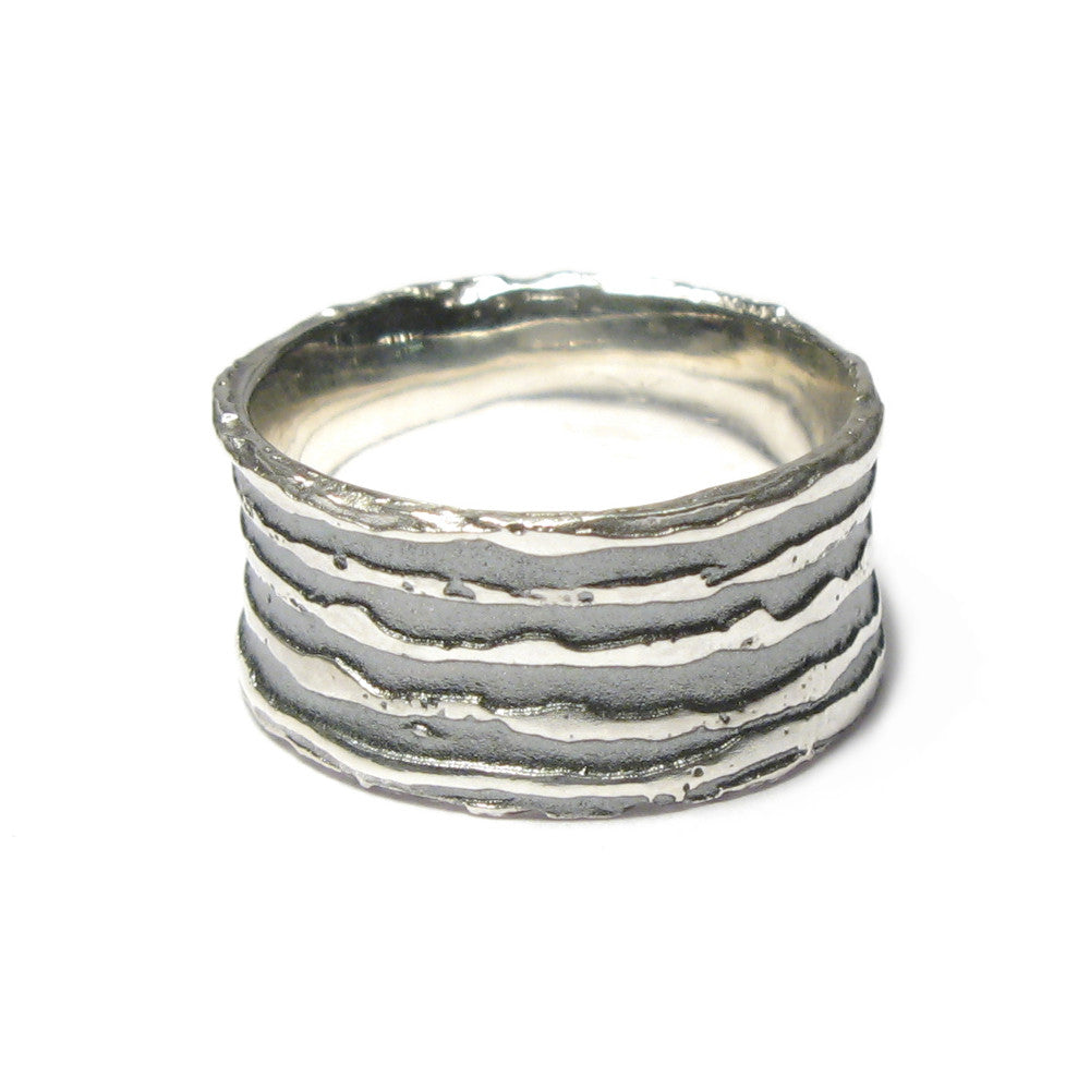Diana Porter Jewellery contemporary etched oxidised silver ring