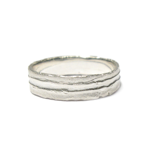 Narrow Silver 'Strata' Ring