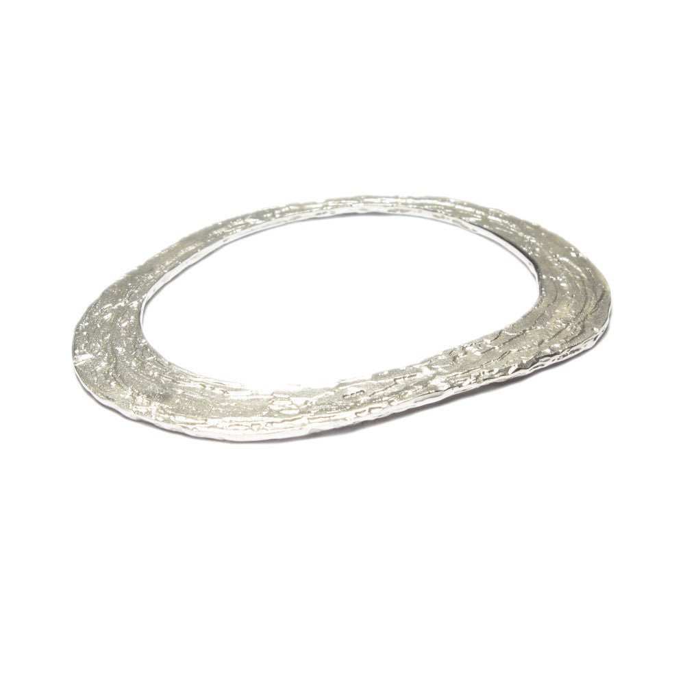 Diana Porter Jewellery contemporary etched silver oval bangle