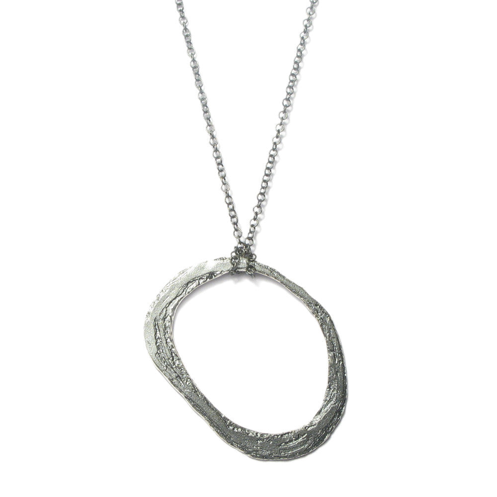 Diana Porter Jewellery contemporary etched silver hoop pendant necklace