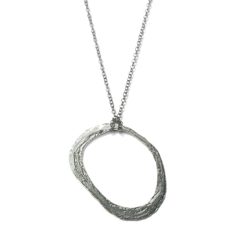 Oval Silver 'Strata' Necklace