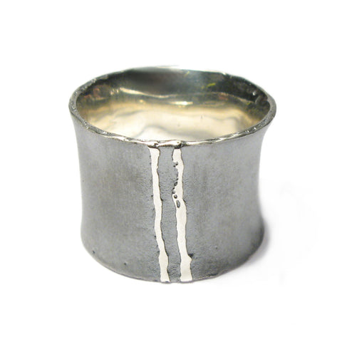 Wide Silver 'Strata' Lines Ring