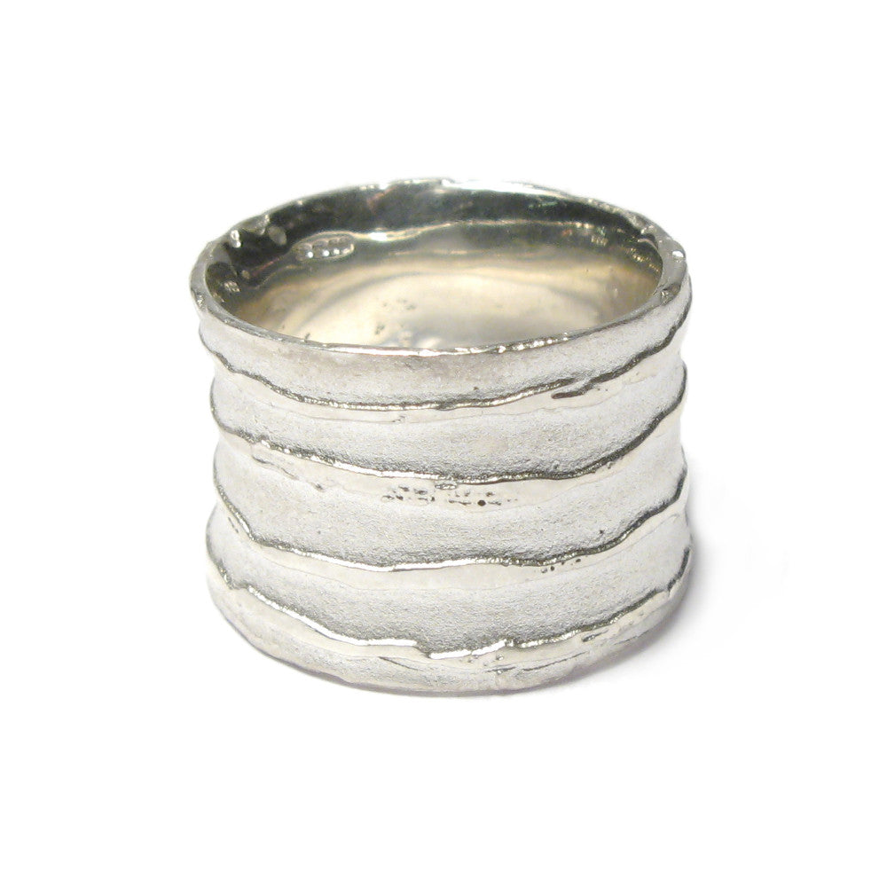Diana Porter Jewellery contemporary etched wide silver ring
