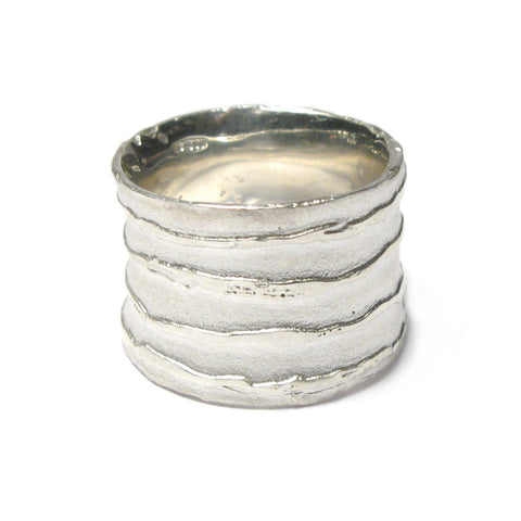 Wide Silver 'Strata' Stripe Ring