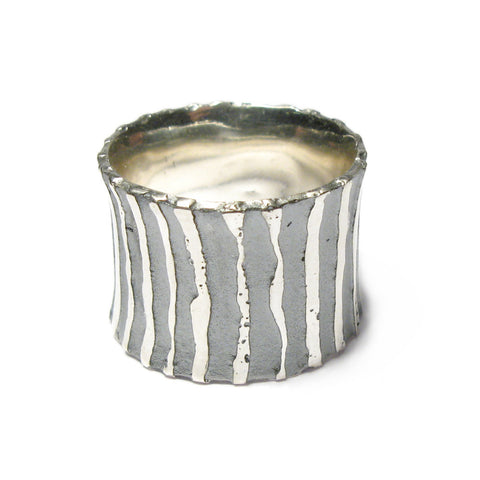 Wide Oxidised Silver 'Strata' Stripe Ring