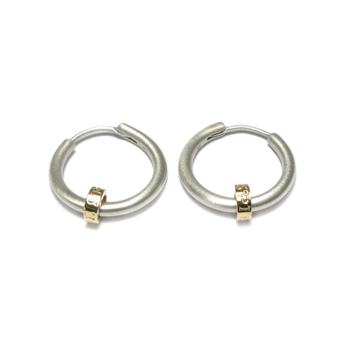 Silver and Yellow Gold 'Spirit' Bead Hoop Earrings