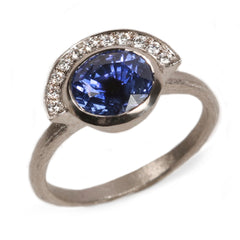 Fair Mind 18ct White Gold 'One-Of-Kind' Ring with 2.61ct Sri Lankan Sapphire and 11 Canada Mark Diamonds