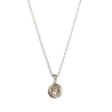 Grey Rose Cut Diamond and Etched Silver Pendant
