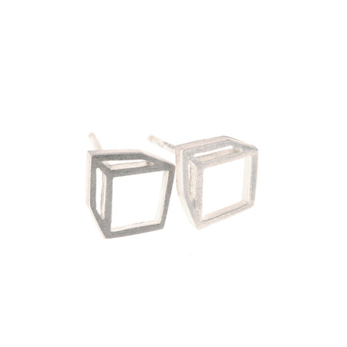 Shimell & Madden Silver Cuboid Studs