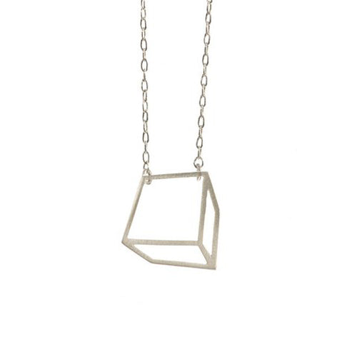 Shimell & Madden Silver Cuboid Necklace