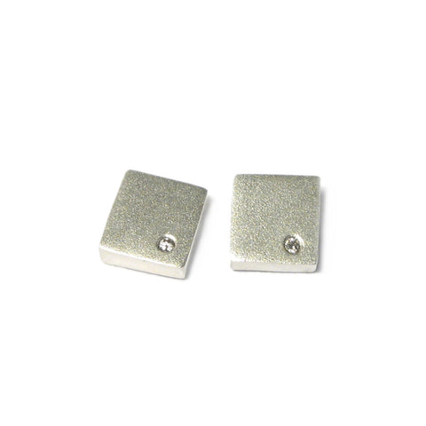Square Silver and Diamond Ear Studs