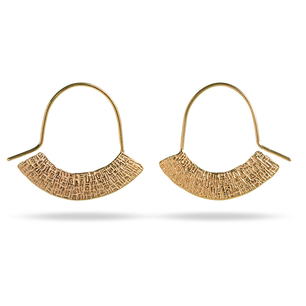 Mim Best gold plated stamped crescent earrings
