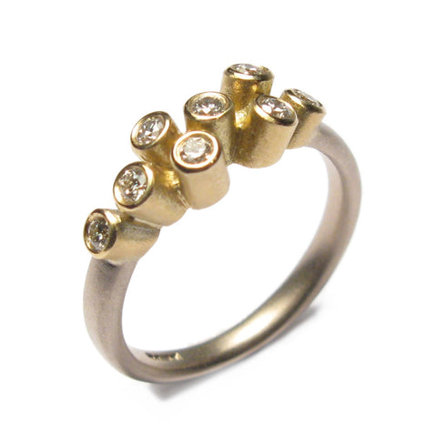 18ct White and Yellow Gold Multi Diamond Ring