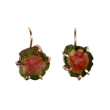Variance Objects watermelon tourmaline drop earrings