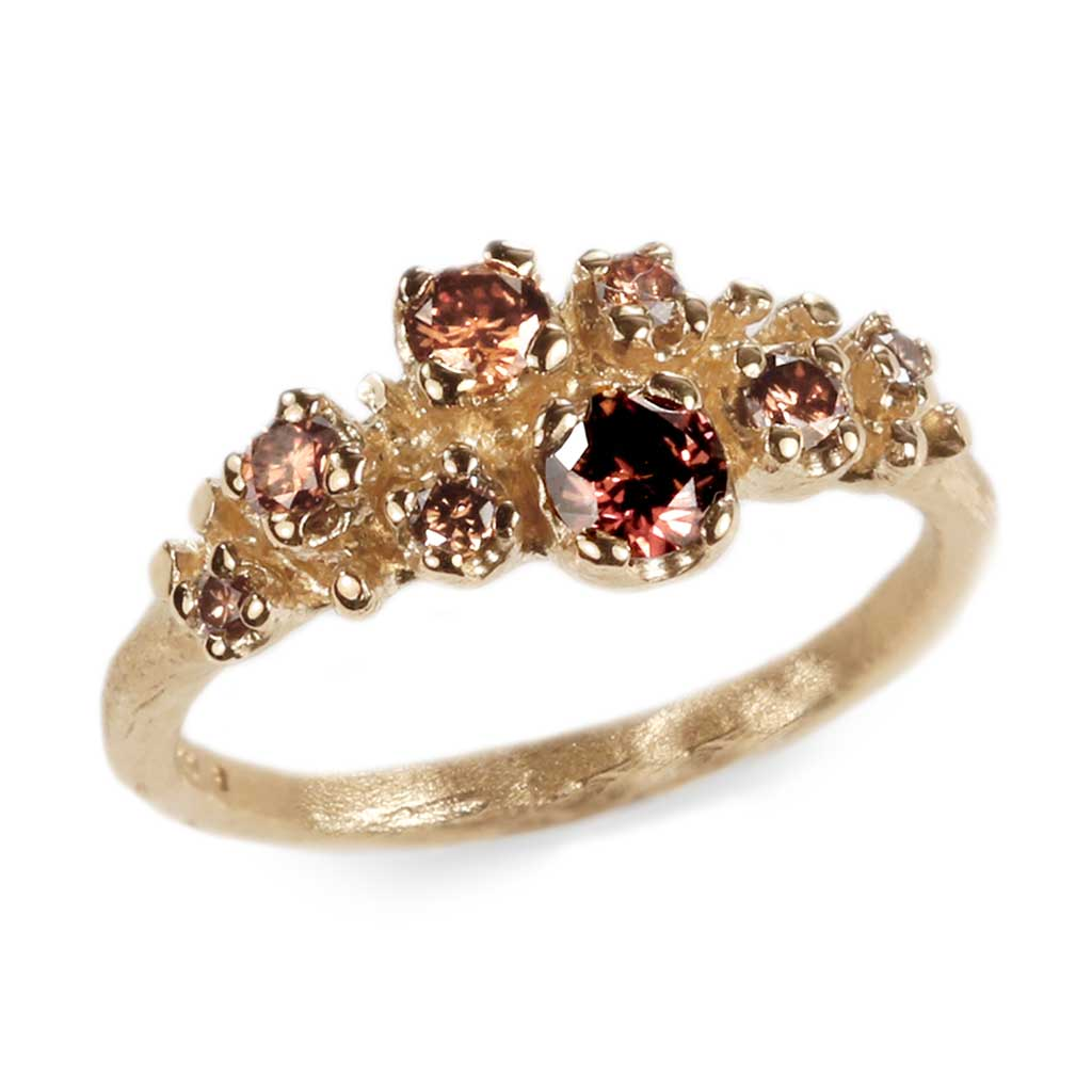 Bespoke - 18ct Yellow Gold multi set ring with chocolate and champagne-coloured diamonds