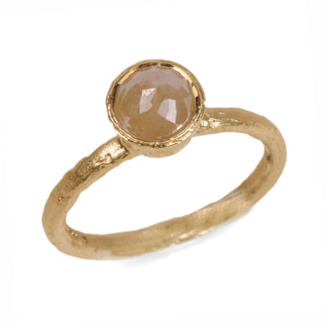 9ct Yellow Gold Ring with Brown Rose Cut Diamond