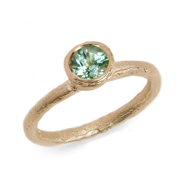 Fair Mind 9ct Yellow Gold Etched 'One-Of-Kind' Ring with Seafoam Tourmaline