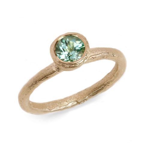 Fair Mind 9ct Yellow Gold Etched Ring with Seafoam Tourmaline