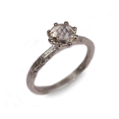 Platinum Ring with Eight Claw Set 1.08ct Chequerboard Rose Cut Diamond