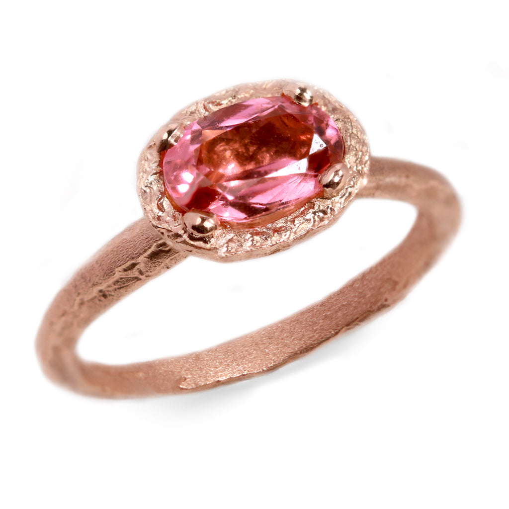 Sold - Fair Mind 9ct Rose Gold Etched Ring with 1.02ct Malawi Pink Tourmaline
