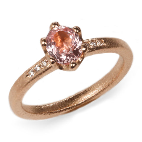 SOLD - Fair Mind 18ct Rose Gold 'One-Of-Kind' Ring with 0.81ct Sri Lankan Sapphire and Canadian diamonds