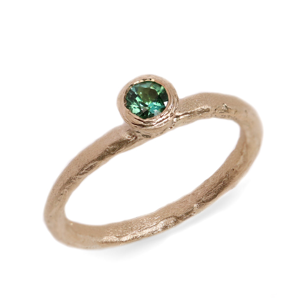 Fair Mind 9ct Yellow Gold Etched Ring 'One-Of-Kind' with Seafoam Tourmaline