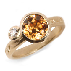 Fair Mind 9ct Yellow Gold 'On and On' Ring with 2.25ct Australian Zircon and Canada Mark Diamond