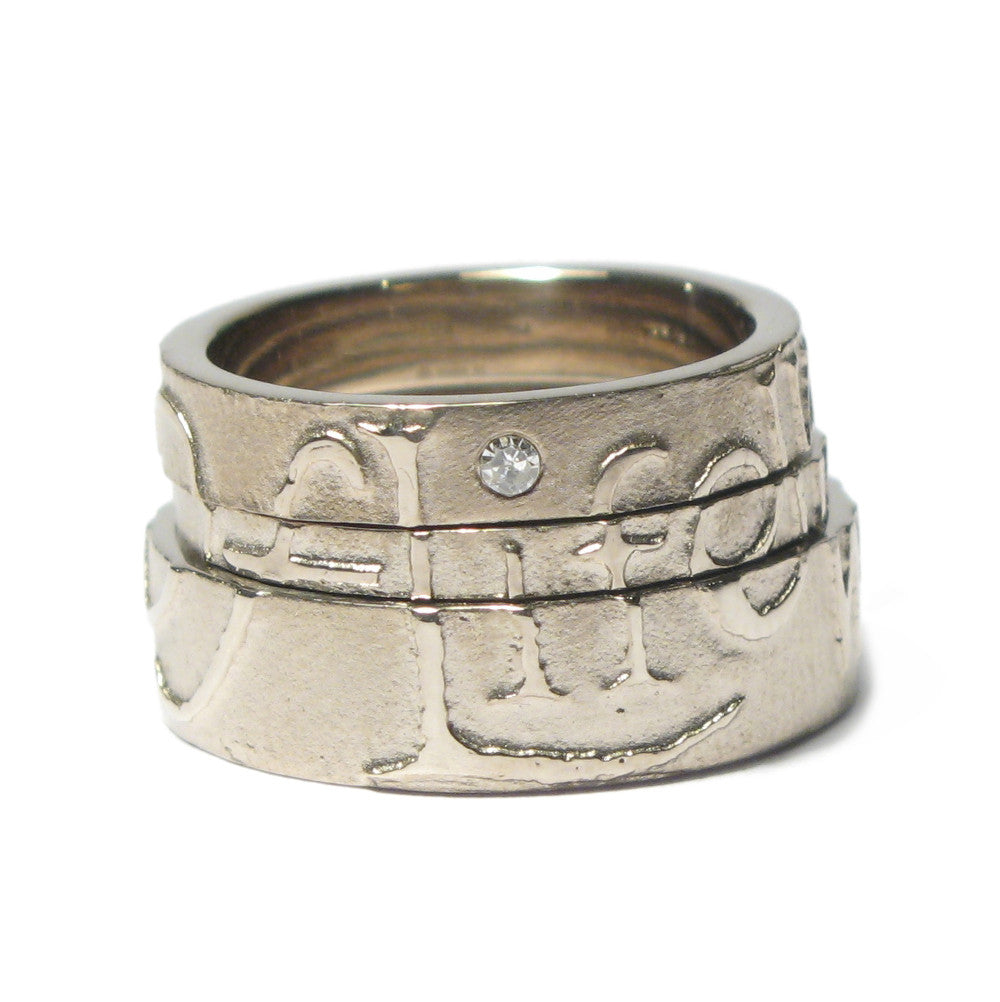 Diana Porter Jewellery contemporary etched wisdom partnership rings