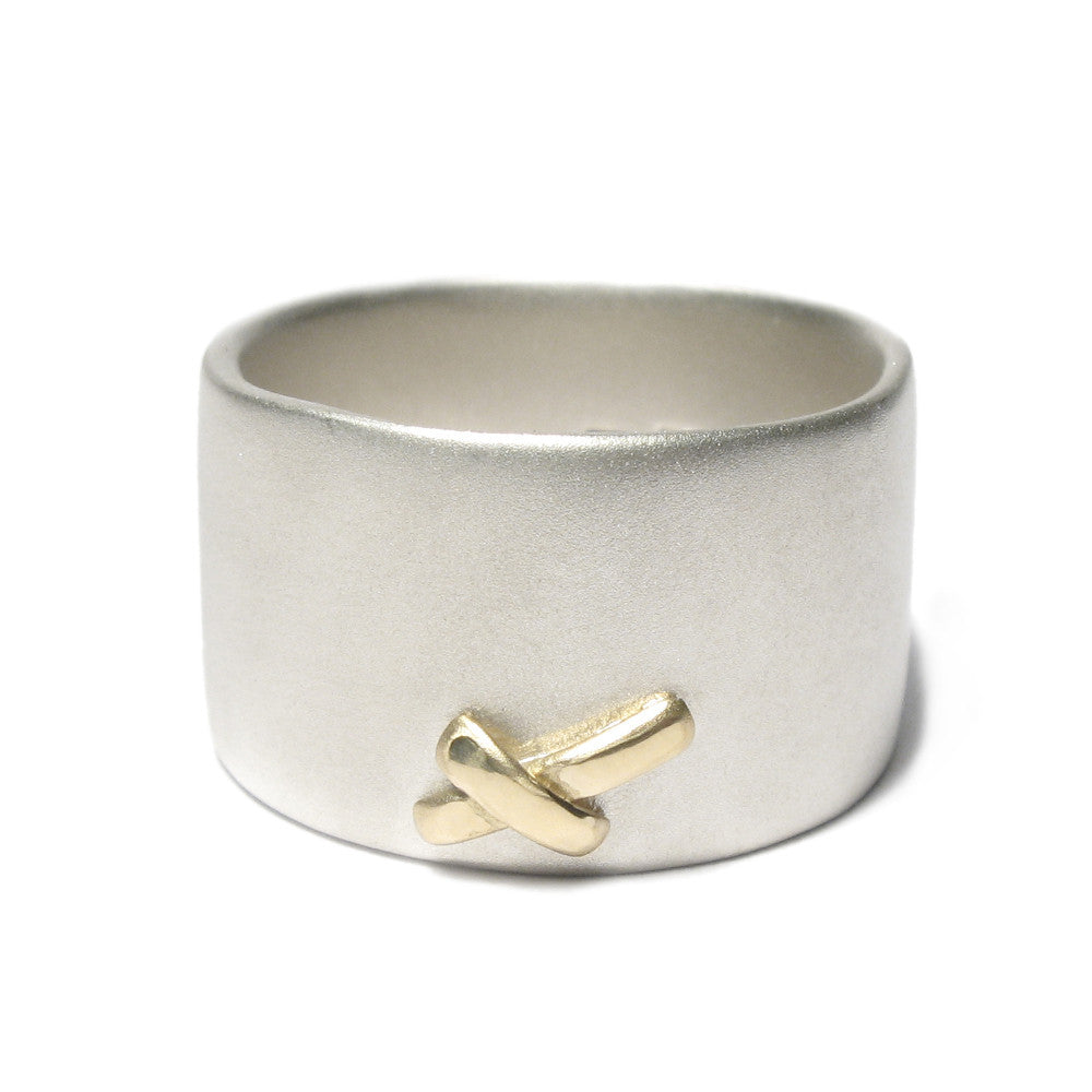 Diana Porter Jewellery contemporary wide silver and gold kiss ring