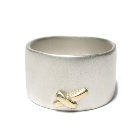 Wide Silver and 18ct Yellow Gold Kiss Ring