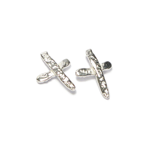 Large Silver Kiss Ear Studs