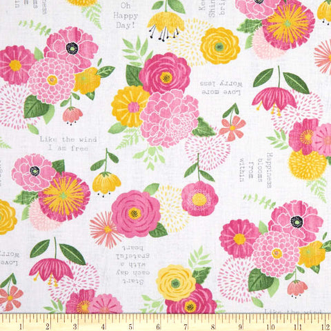 Keep on Shining Cotton Floral Fabric Phrase  Anne Rowen Wilmington By the Yard
