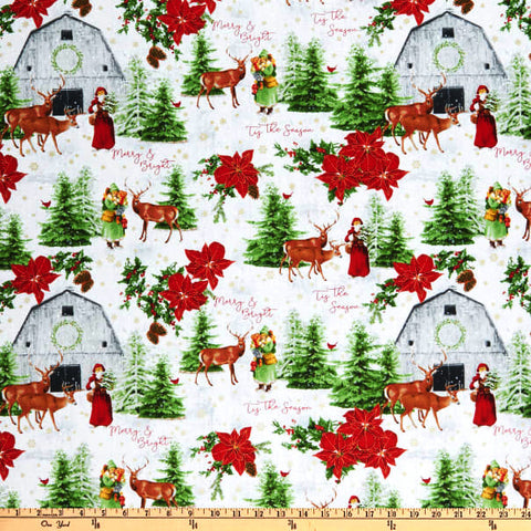 Comfort and Joy Santa Barn  Christmas Fabric Windham Whistler Studios By the Yard