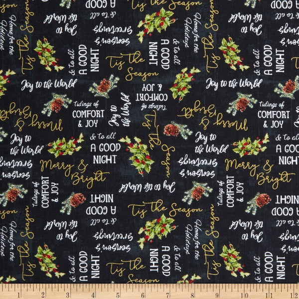 Comfort and Joy Words Christmas Fabric Windham Whistler Studios By the Yard