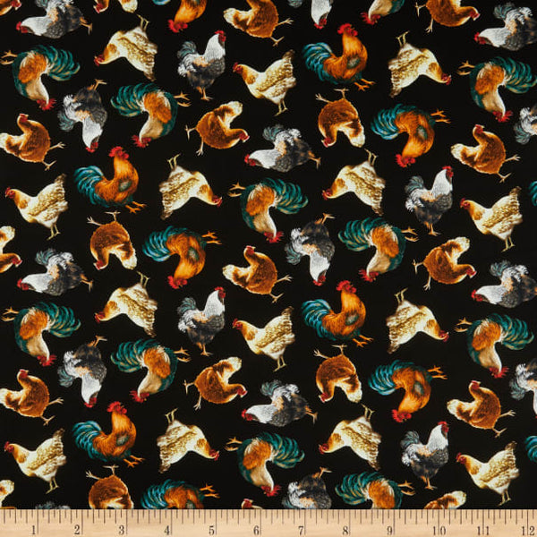 Roosters Cotton Fabric Farm Life Timeless Treasures By the Yard
