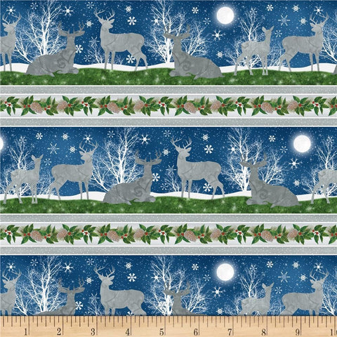 Under the Pines Cotton Fabric Reindeer Christmas Repeating Stripe By the Yard