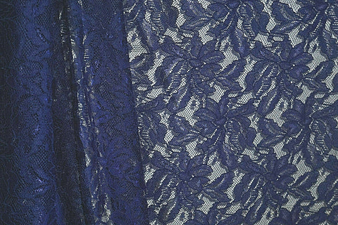 Navy Blue Corded Floral Lace Polyester Special By the Yard