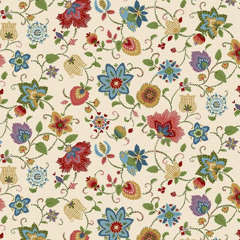 Thread the Needle Floral Beige  Cotton Fabric Marcus By the Yard